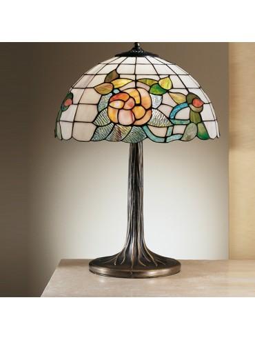 Lampada da tavolo ottone e vetro Tiffany by Perenz