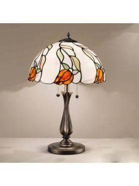 Lampada da tavolo in stile Tiffany D. 40 cm in vetro e resina