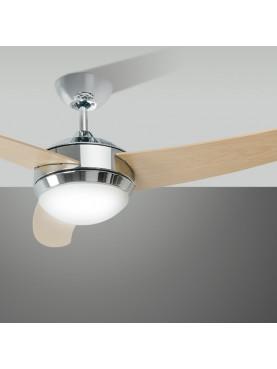 Ventilatore da Soffitto Cromo Legno Design Moderno Perenz