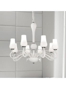 Lampada a sospensione Perenz in vetro bianco e metallo cromato dal gusto classico