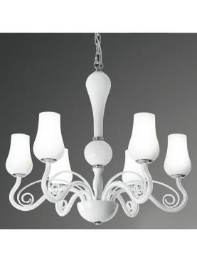 Lampada a sospensione Perenz in vetro bianco e metallo cromato dal gusto classico D. 66 cm, H. 120 cm