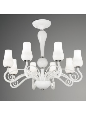 Plafoniera Perenz in vetro bianco e metallo cromato dal gusto classico