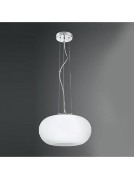 5754 Lampada Sospensione in Vetro Soffiato Bianco D.44 Perenz
