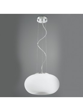 5752 Lampada Sospensione in Vetro Soffiato Bianco D.34 Perenz